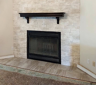 Quality Carpet & Tile custom fireplace project